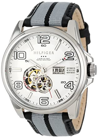 f6b8f8f4c8 Tommy Hilfiger Men s 1790909 Two-Tone Leather Automatic Watch with White  Dial  Tommy Hilfiger  Amazon.co.uk  Watches