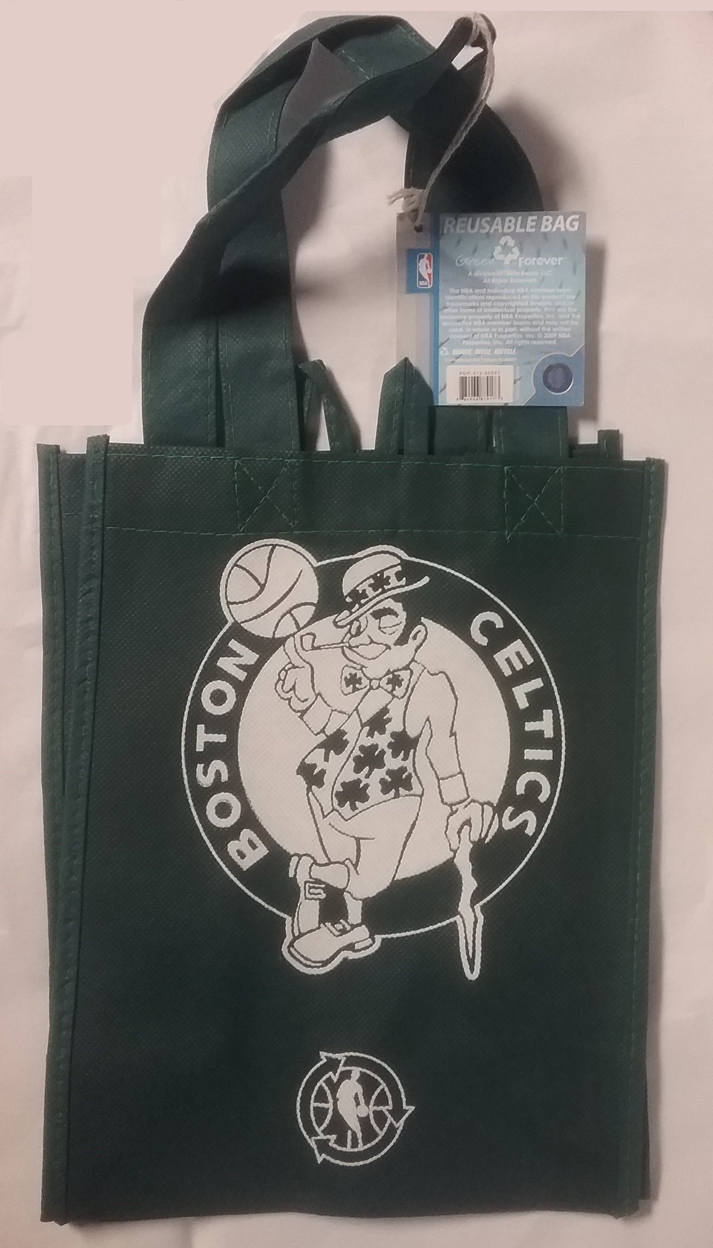 FOCO NBA Boston Celtics Printed Non-Woven Polypropylene Reusable Grocery Tote Bag, Small, Green