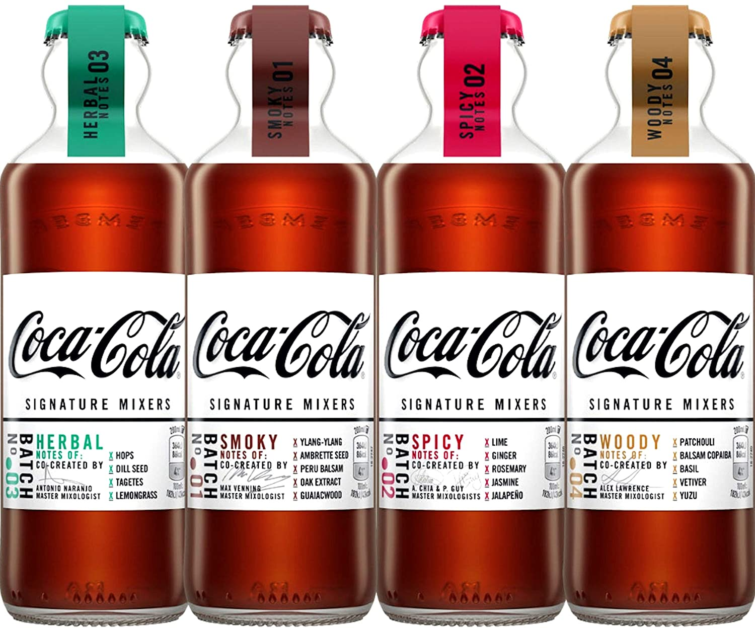 4 x NEW COCA-COLA Signature Mixers Set - Smoky, Spicy, Herbal & Woody - Limited Edition