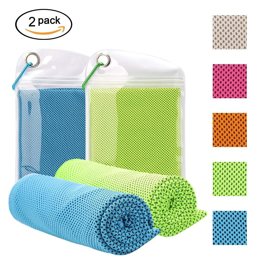 Barwa Cooling Towel 2 Pack (40x12) Instant Chilling Relief Cold Towels Ice Towels for Yoga, Fitness, Running, Camping, Travel Workout &Outdoor Sports (Blue & Green)