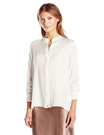acb8c4409a4aa0 Amazon.com  Vince Women s Collarless Blouse  Clothing
