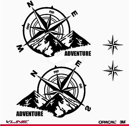 Provinyl Aufkleber Kompass Rosa Wind Trail Off Road Geländewagen 4 X 4 Sport 2 Sterne Für Auto Oder Motorrad Schwarz Auto
