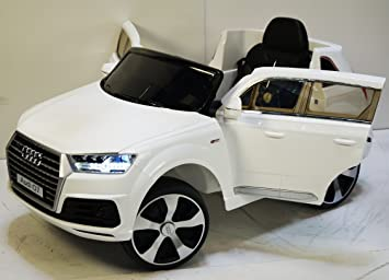 audiq7 white cars for kids remote control battery 12v total mp3 electric kids