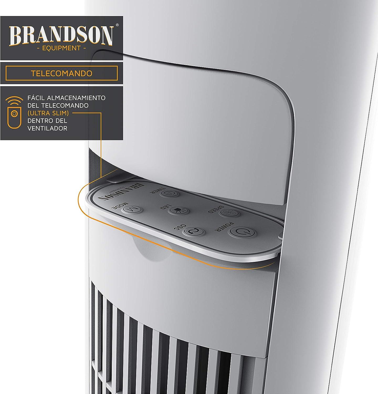 Brandson – Ventilador de Torre con telecomando | inclinable 10 ...
