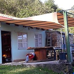 Cool Area Toldo Vela de Sombra Rectangular 4 x 5 Metros, Impermeable Protección UV para Patio Exteriores Jardín, Color Arena: Amazon.es: Jardín