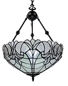 """Amora Lighting Tiffany Style Hanging Lamp Jeweled Chandelier 18"""" Wide Stained Glass White Antique Vintage Light Decor Restaurant Game Living Dining Room Kitchen Gift AM263HL18B"""