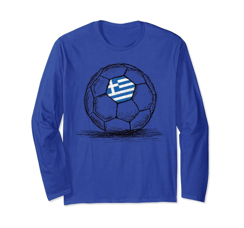 Greece Greek Flag on Soccer Ball Long Sleeve Shirt-Rose