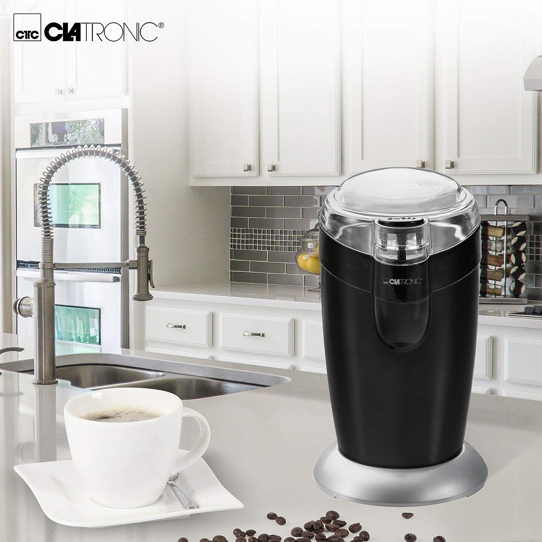 Especias Capacidad 40gr 20 Tazas de caf/é Clatronic KSW 3306 Molinillo el/éctrico Semillas o Granos Blanco//Plata Cuchillas Acero Inoxidable 120 W tama/ño Compacto