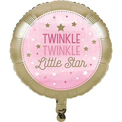 Creative Converting 322267 Twinkle Little Star Pink Foil Balloon Party Supplies, One Size, Multicolor: Toys & Games