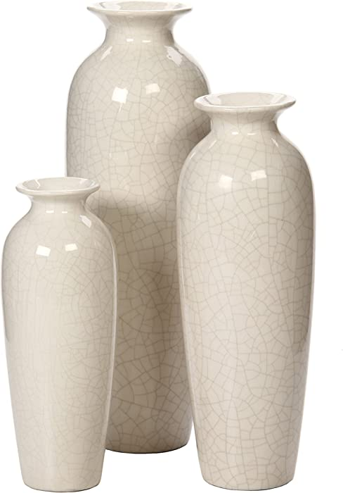 Hosley Set of 3 Crackle Ivory Ceramic Vases in Gift Box. Ideal Gift for Wedding or Special Occasions for Use in Home Office Decor Floor Vases Spa Aromatherapy Settings O4