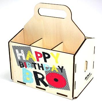 Bierträger Aus Holz Geburtstag Sixpack 6er Träger Geschenke Für Männer Grillen Vatertag Happy Birthday Bro