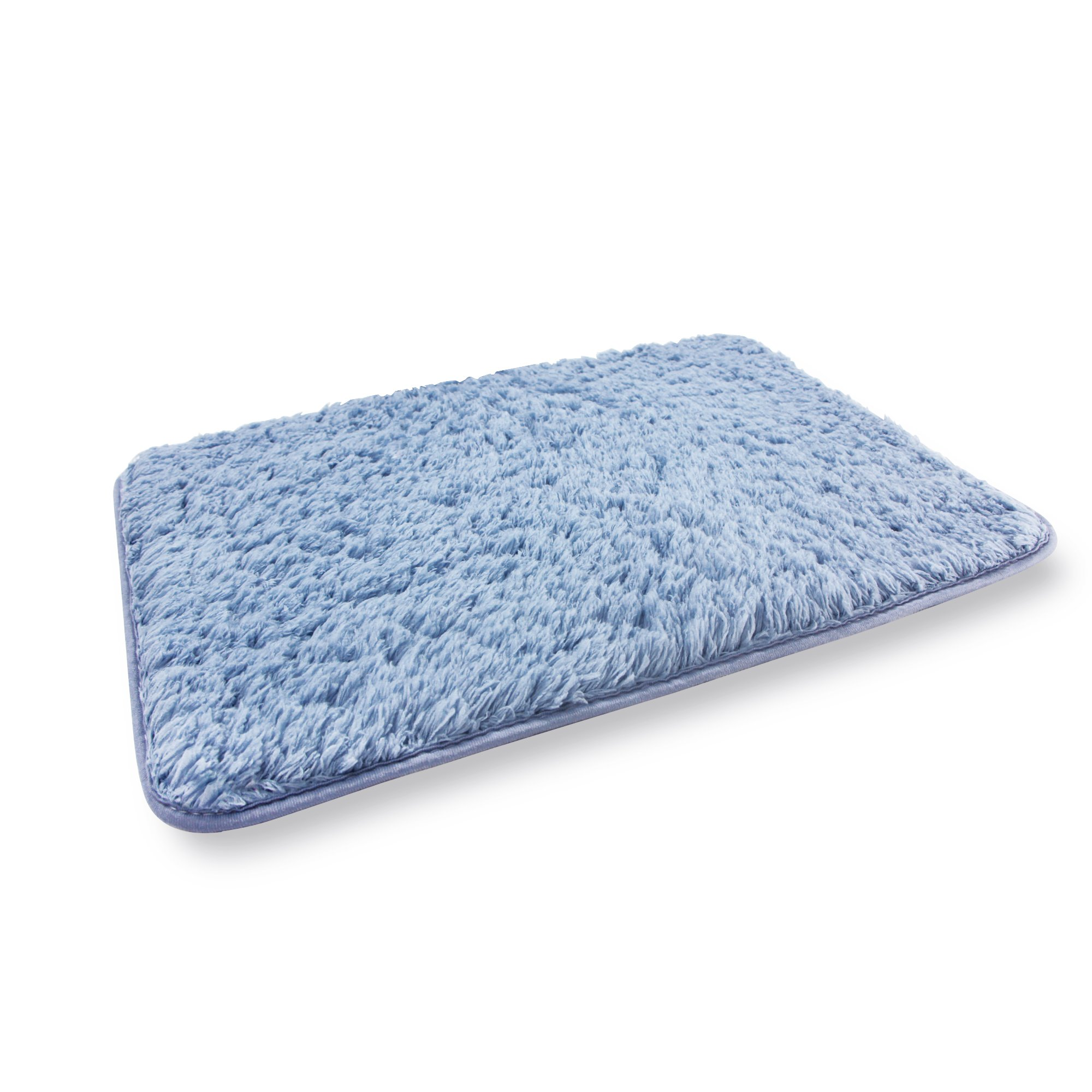 Soft Microfiber Non-slip Antibacterial Rubber Luxury Bath Mat Rug 20''X32'' Blue