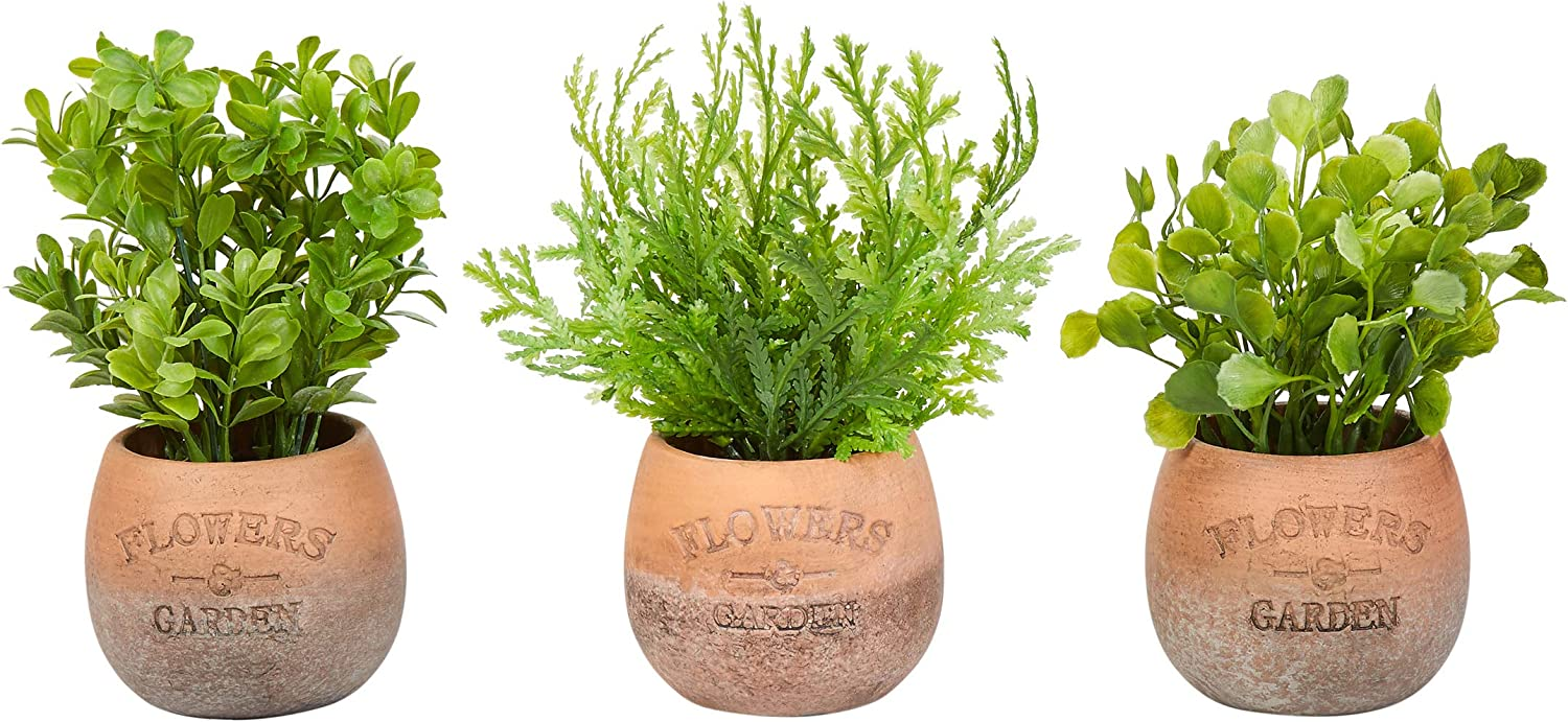 """Pure Garden Artificial 8"""" Tall Greenery Arrangement House Plants Round Set of 3, Decorative Faux Indoor Ornamental Potted Foliage"""