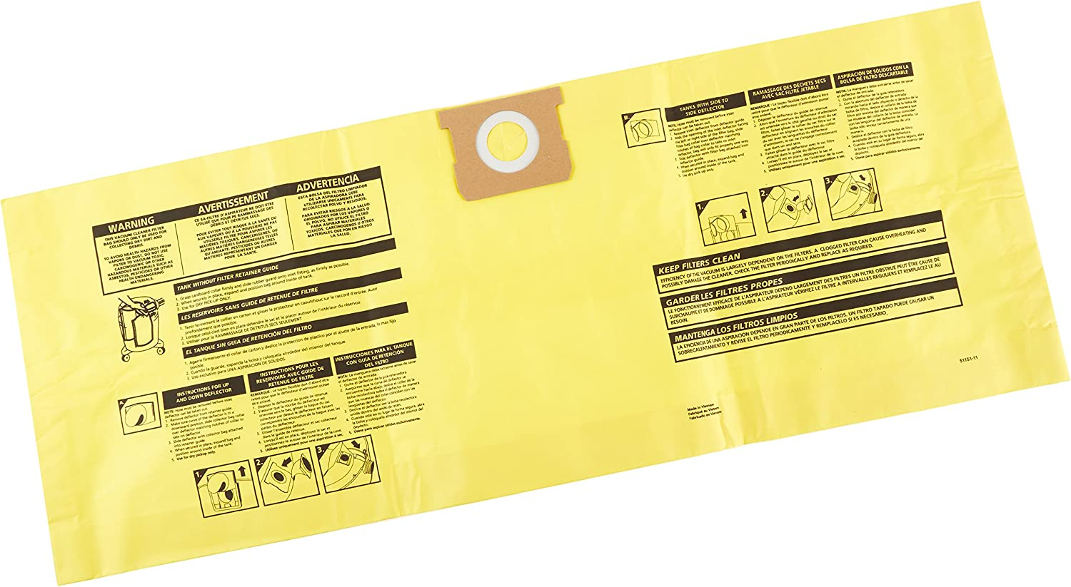 Shop-Vac 9190610 Genuine Collection Bags, 10 to 14 gallon, Yellow