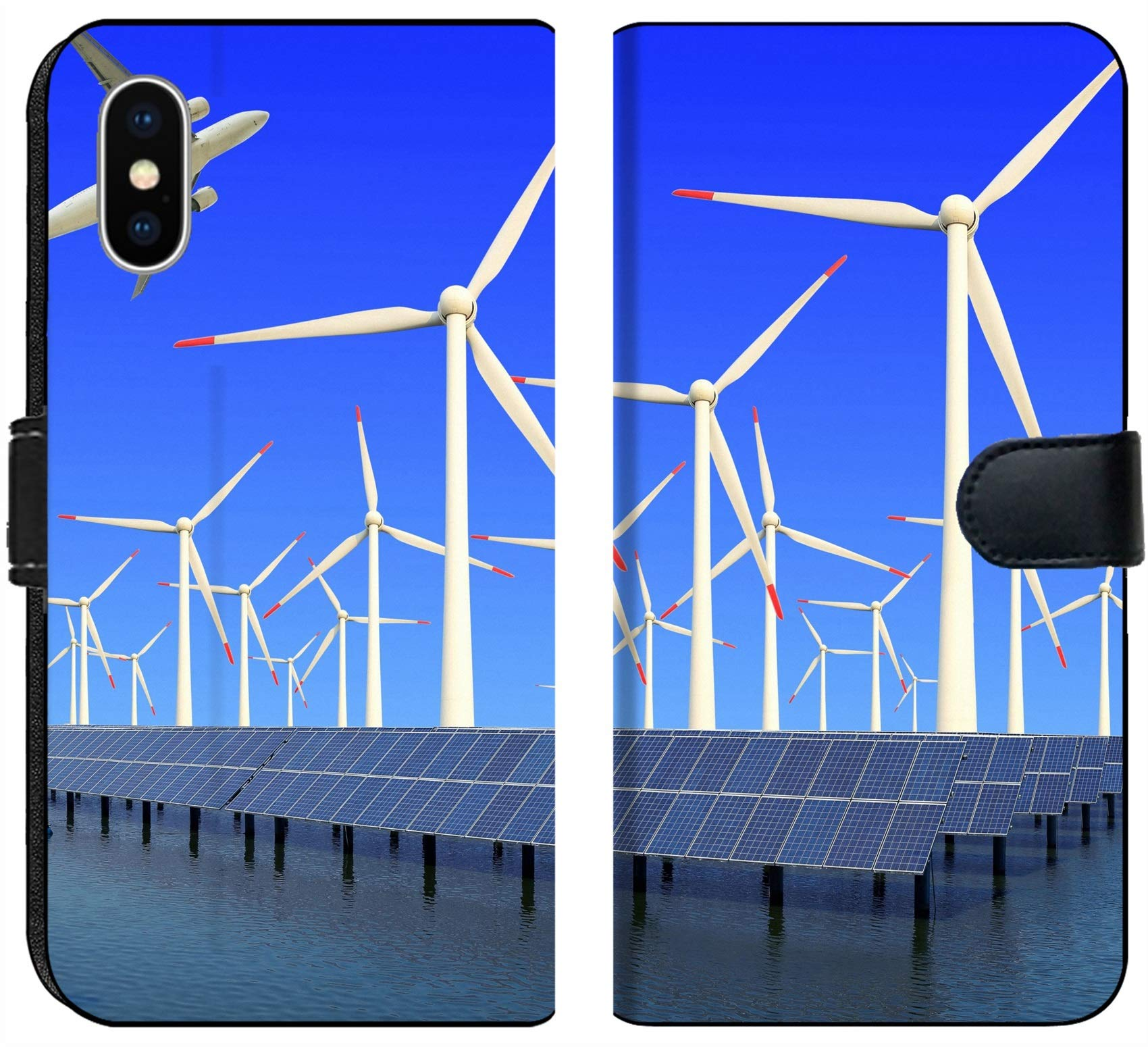 Apple iPhone X Flip Fabric Wallet Case Image ID 19576484 Aircraft is Flying in eco Power of Wind turbines and Solar Panel at c