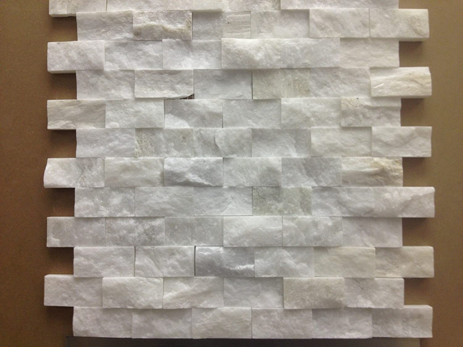italian white carrara split face 1x2 mosaic tile for kitchen backsplash wall tile marble tiles amazoncom - Mosaic Tiles