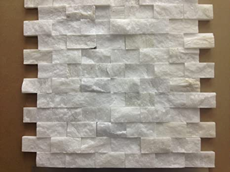 Italian White Carrara Split Face 1x2 Mosaic Tile for Kitchen Backsplash,  Wall tile