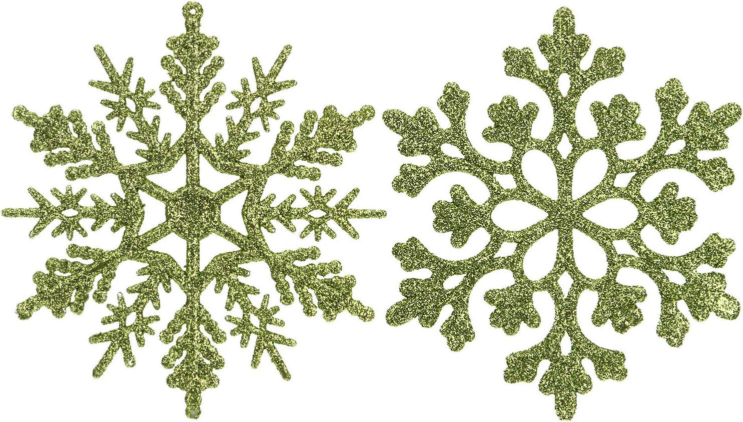 Sea Team Plastic Christmas Glitter Snowflake Ornaments Christmas Tree Decorations, 4-inch, Set of 36, Lime