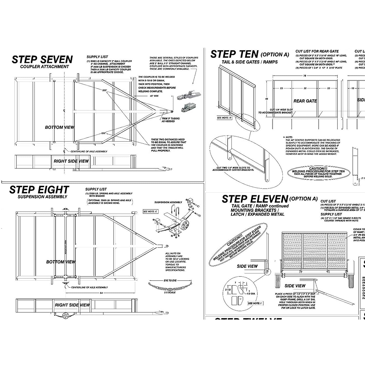 "Amazon.com: Utility Trailer Plans Blueprints (12' x 6'6"" - Model 1112):  Automotive"