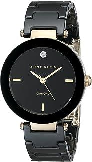 Anne Klein Women's Black Round Ceramic Diamond Watch