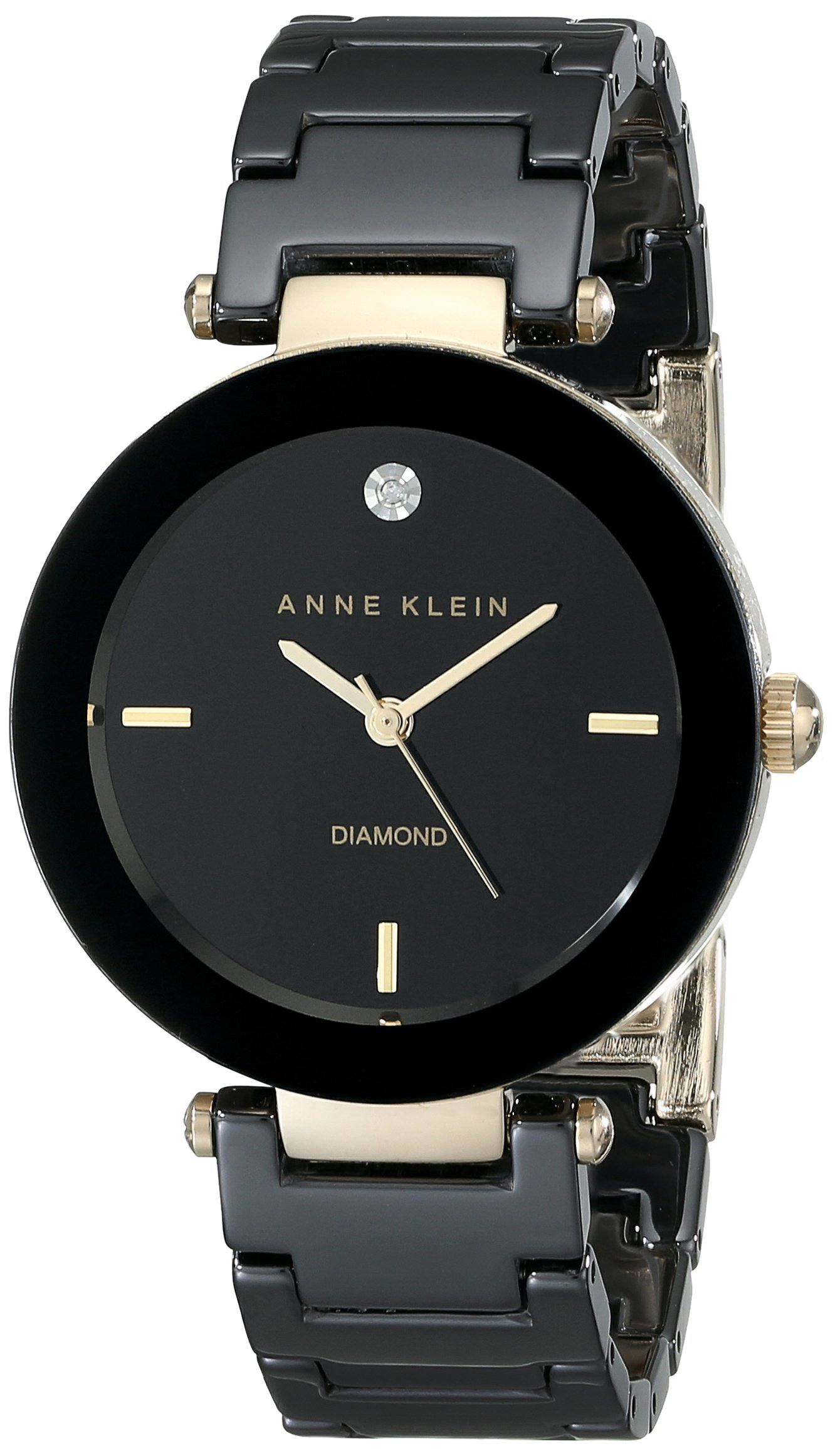 Anne Klein Women's AK/1018BKBK Black Ceramic Bracelet Watch with Diamond Accent by Anne Klein