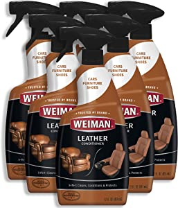 Weiman Leather Cleaner & Conditioner - 22 fl. oz. [6 Pack] Non Toxic Restores Leather Surfaces - UV Protectants Help Prevent Cracking or Fading of Leather Couches, Car Seats, Shoes, Purses