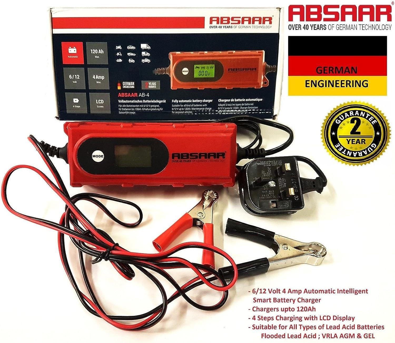 VRLA AGM GEL Battery Absaar AB-4 6V//12V 4A Smart Battery Charger Lead Acid