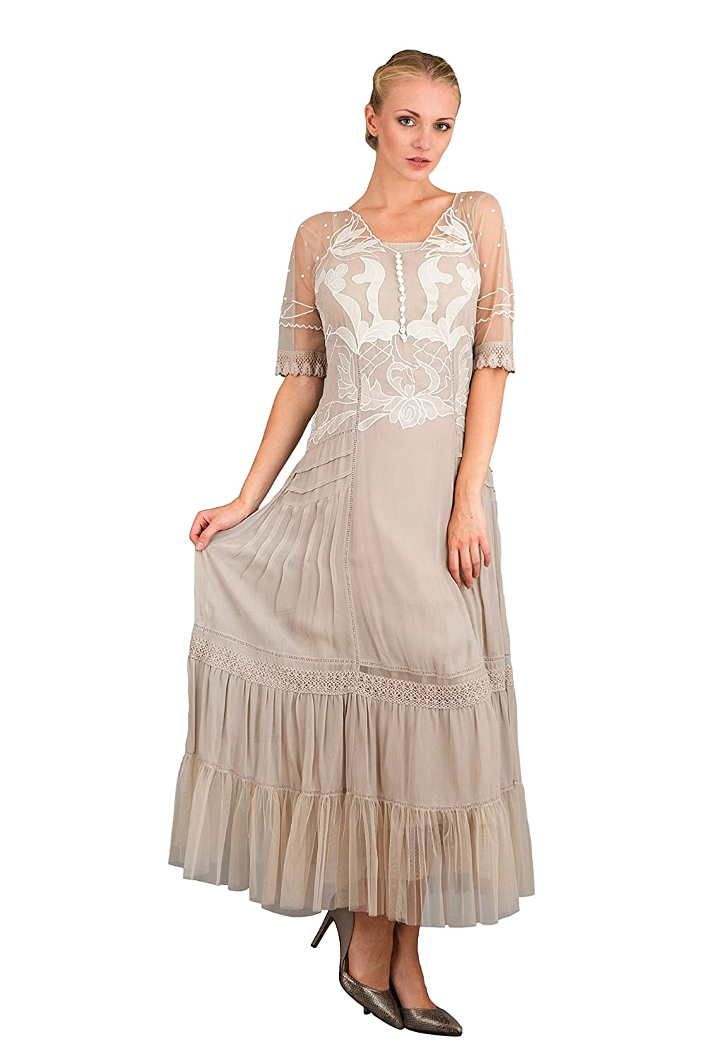 Edwardian Style Dresses Vintage Inspired Party Dress in Antique $329.00 AT vintagedancer.com