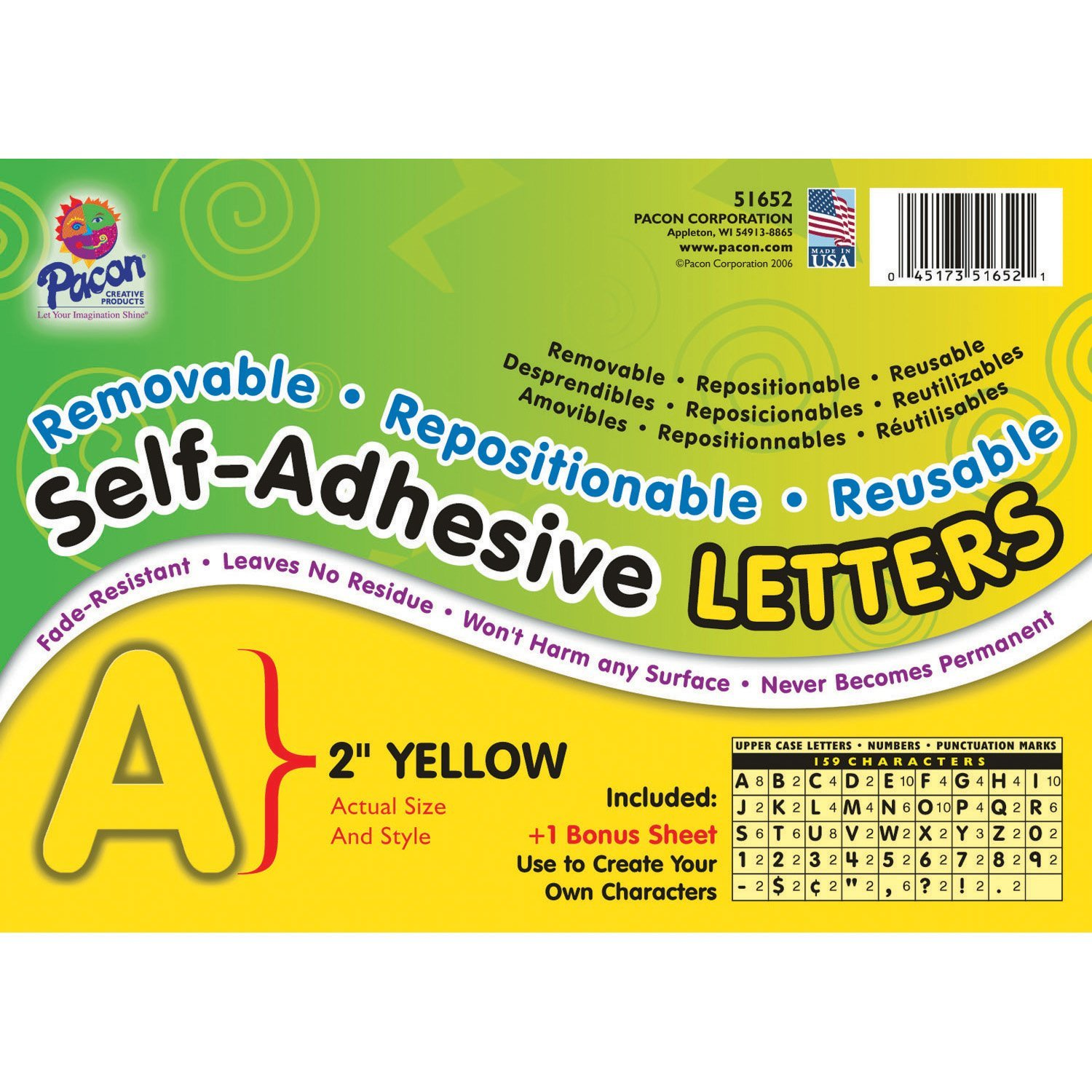 Pacon PAC51652BN Self-Adhesive Letters, Yellow, Puffy Font, 2'', 159 Characters Per Pack, 2 Packs by Pacon