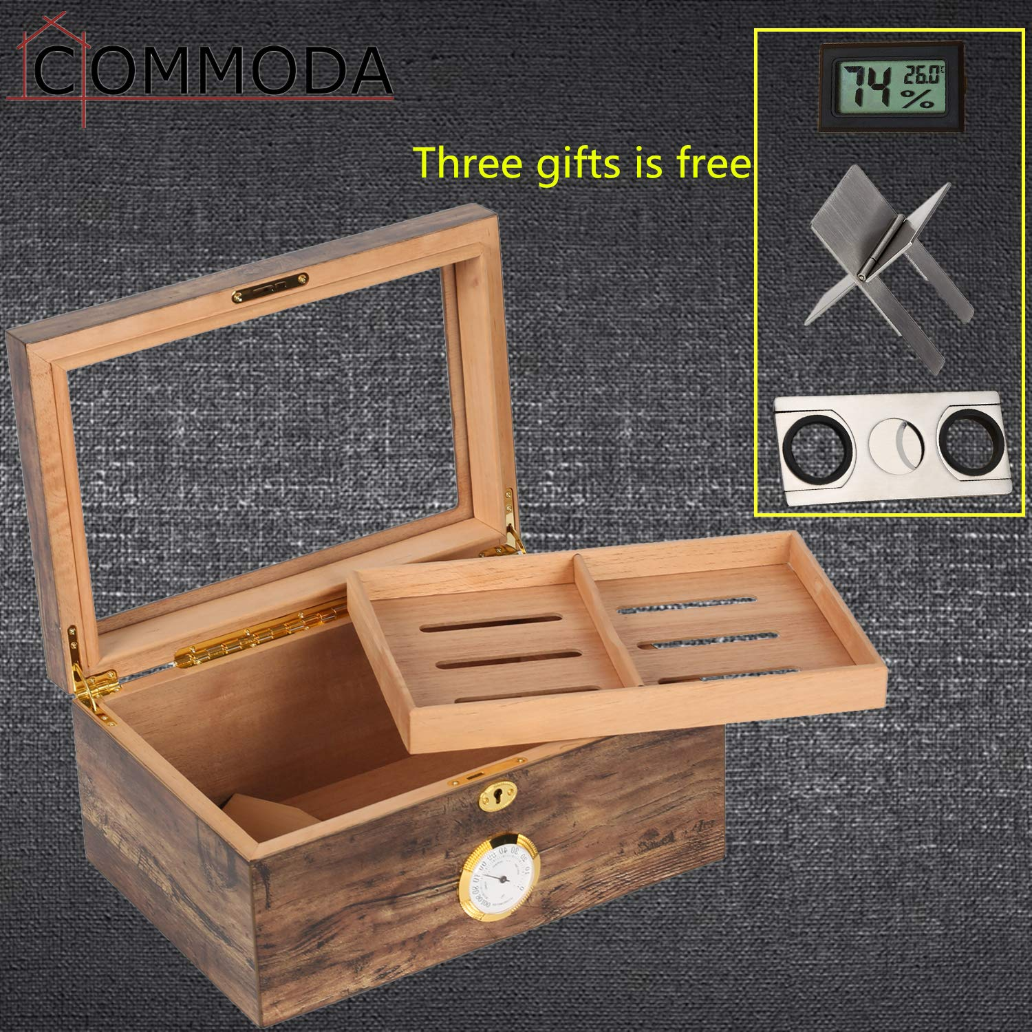 COMMODA Desktop Cigar Humidor Tempered Glasstop with Front Mounted Hygrometer and Humidifier, Cedar Lined Storage Box Spanish Cedar Tray with Divider, Holds 100 Cigars Cigar Free Cutter and Rack by COMMODA (Image #4)