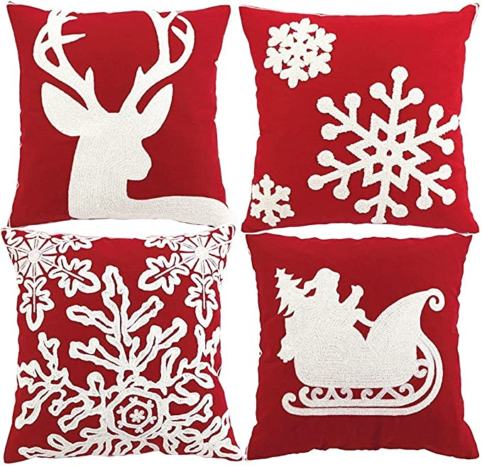 Amazon Com Hosl 4 Pack Psd34 Embroidery Embroidered Merry Christmas Snow Square Decorative Throw Pillow Case Sofa Car Cushion Cover 18x18 Inch Set Of 4 Home Kitchen