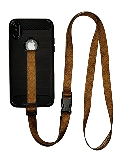 new styles 54fb2 71f28 foneleash 3 in 1 Universal Cell Phone Lanyard Neck Wrist and Hand Strap  Tether (Brown)