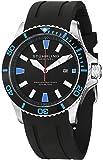 Stuhrling Original Men's 706.02 Aquadiver Regatta Quartz Date Blue Accent Rubber Strap Diver Watch