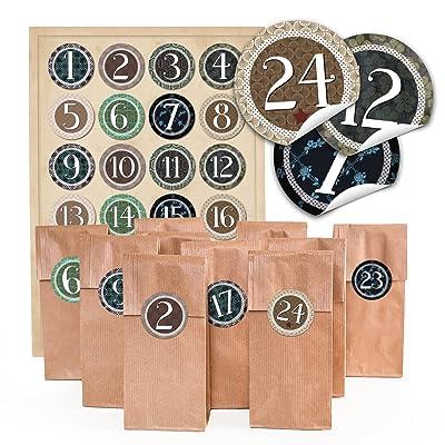 'pour 4Calendrier. 96Marron Motifs Noël F. pâtisseries avec insert parchemin (7x 4x 20,5cm) et 96ronde Lot de 4autocollants cm Autocollantes «â€¯Vintage», &l