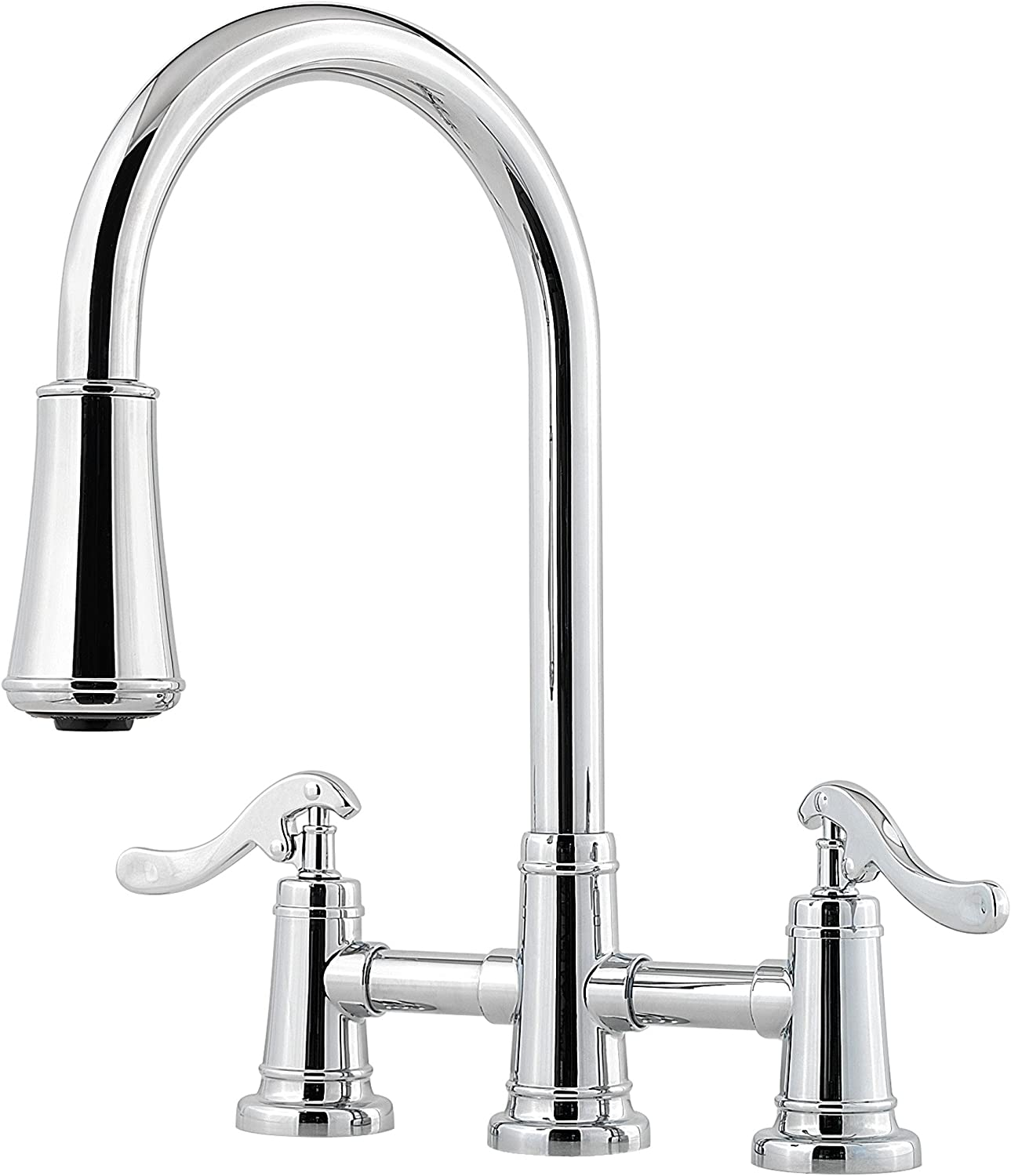 Pfister LG531YPC Ashfield 2-Handle Pull-Down Kitchen Faucet in Polished Chrome, 1.8 gpm