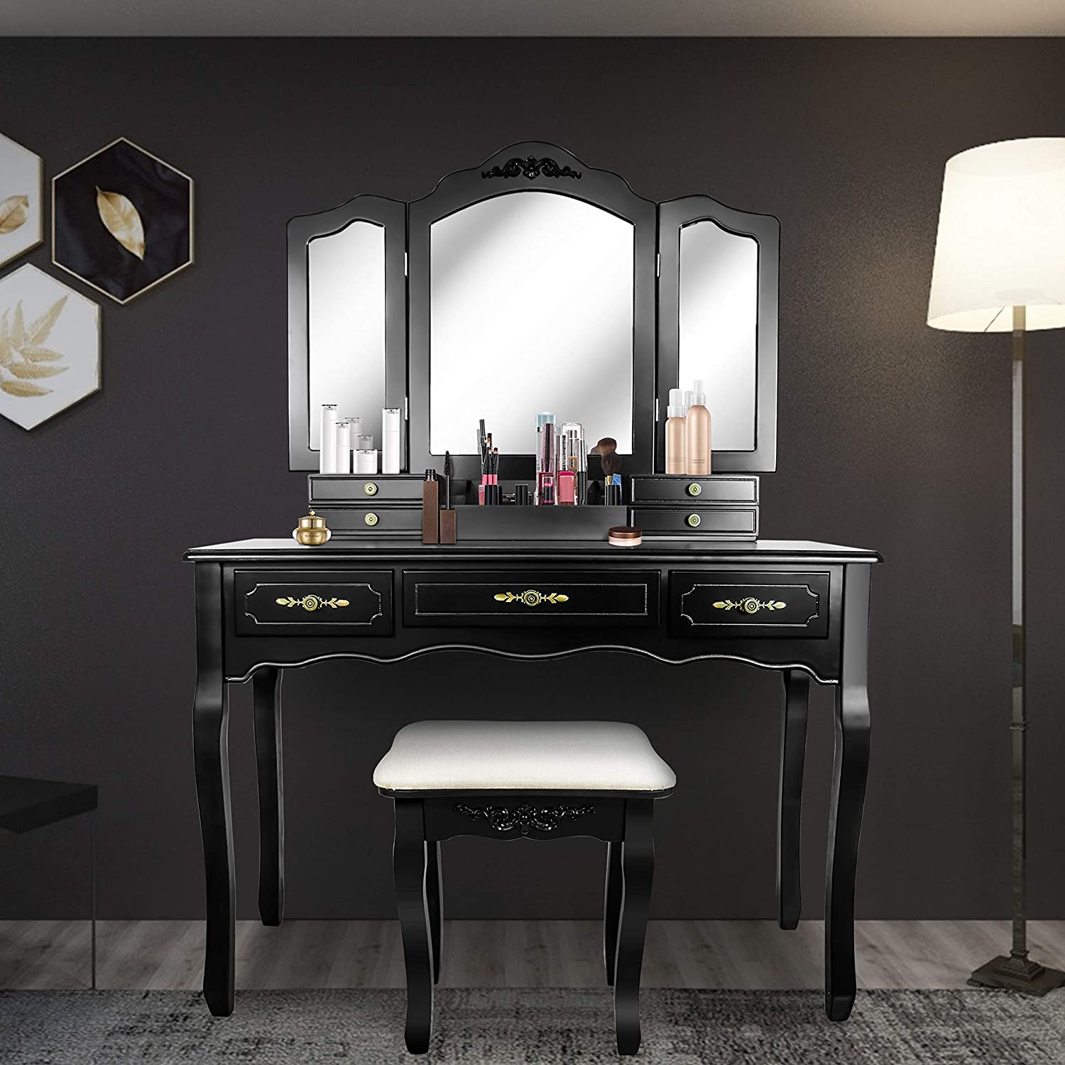 Tri Folding Mirror Vanity Table Set Dressing Table with Cushioned Stool& 7 Storage Drawer Wood Furniture (Black)