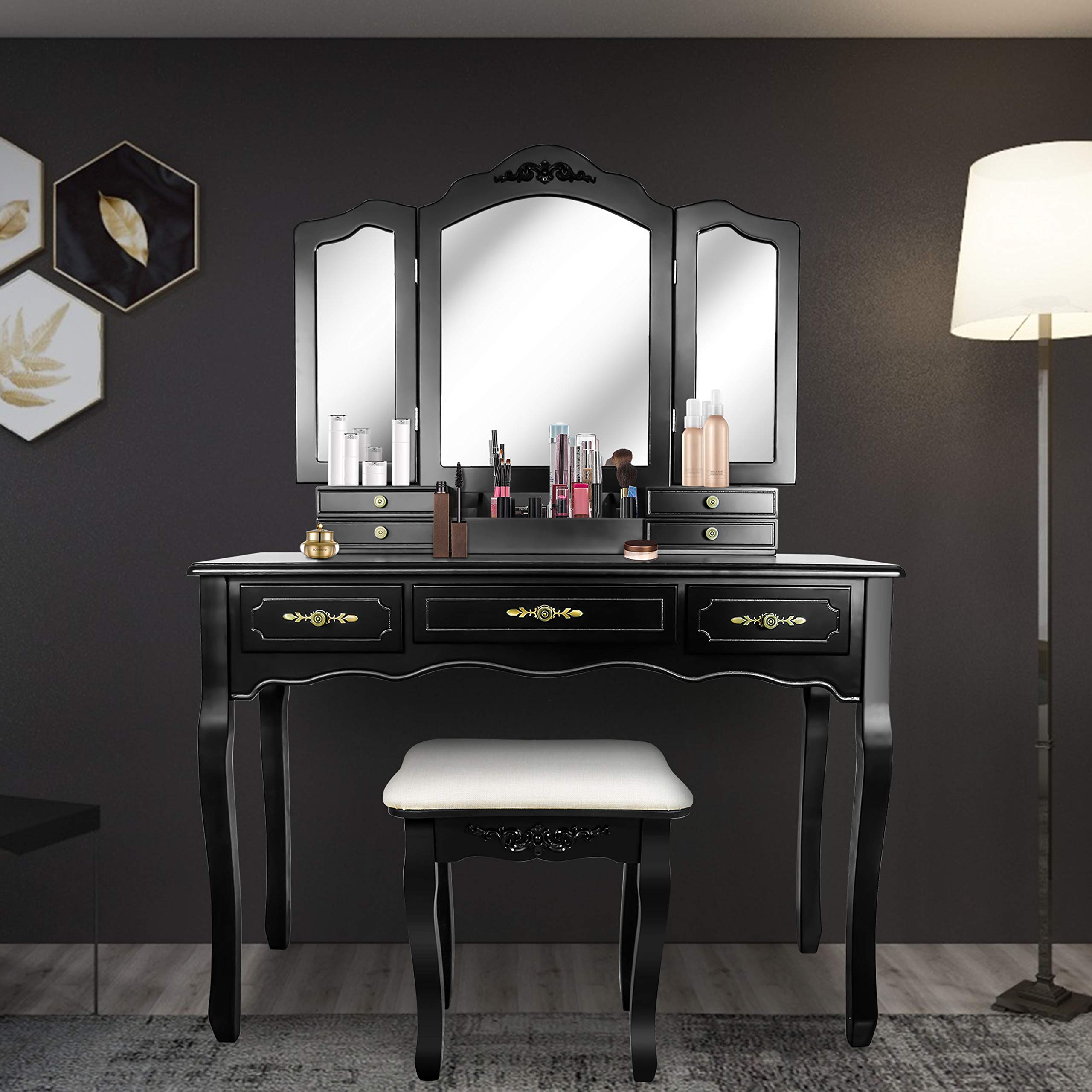 Tri Folding Mirror Vanity Table Set Dressing Table with Cushioned Stool& 7 Storage Drawer Wood Furniture (Black) by SCYL Color Your Life