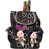 Roshiaaz Girl's Canvas Check Print Bunny Teddy Backpack (Black)