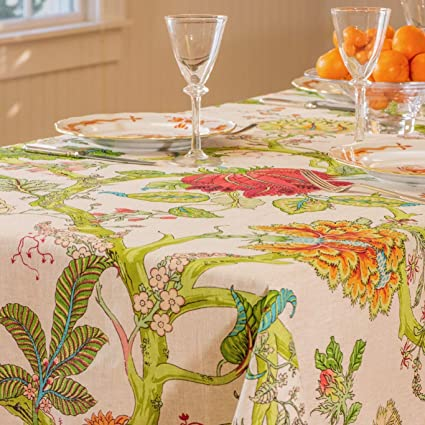 "Amelie Michel French Linen Tablecloth in Darjeeling | Authentic 100% Linen Fabric, Made in France [60"" x 96"" Rectangle] best rectangular tablecloths"