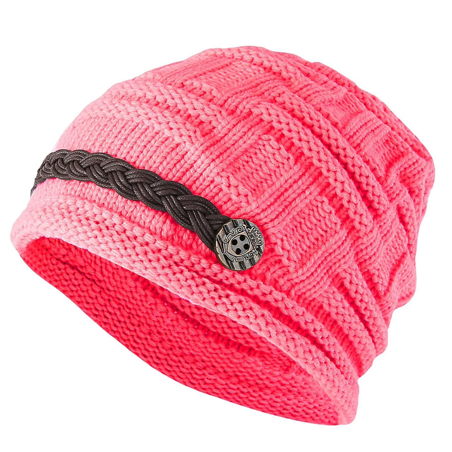 841f740993d5 Women Winter Beanie Cabled Checker Pattern Knit Hat Button Strap Cap