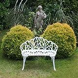 Banc 2 places en aluminium moulé pour jardin et patio - motif tulipes - blanc
