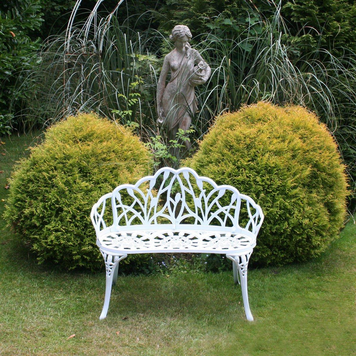 Gartenbank für 2 Personen - Tulpen-Design - Aluguss - Weiß