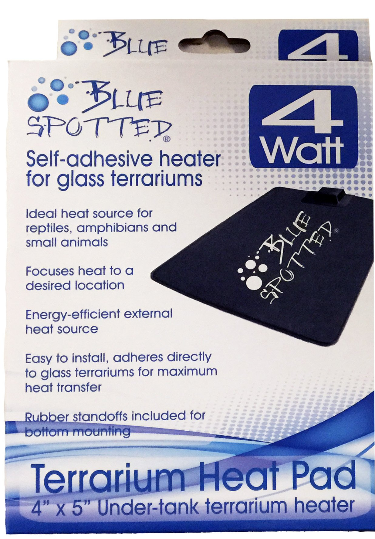 Blue Spotted Under Tank Heater, Terrarium Heat Pad, Size Mini, For Reptiles, Amphibians, Hermit Crabs, and Small Animals - Use With Glass Terrariums - Size Mini- 4 Inch x 5 Inch