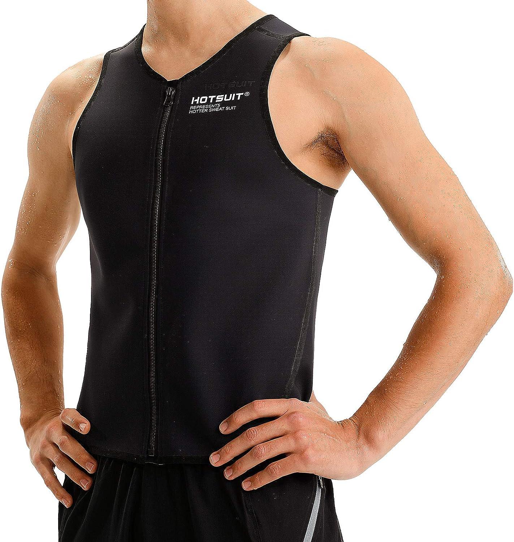 HOTSUIT Taillentrainer Weste Herren Sauna Tank Top Rei/ßverschluss Korsett Sauna Anzug Body Shaper Workout Shirt