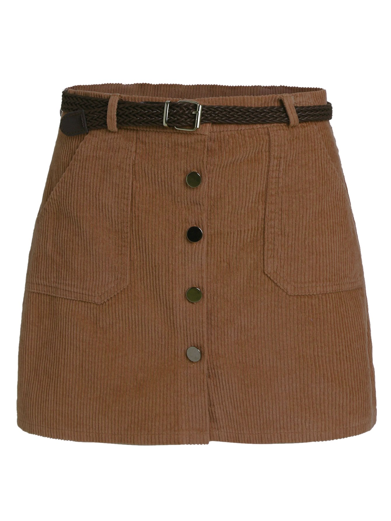 Romwe Women's Cute Mini Corduroy Button Down Pocket Skirt with Belt Brown M