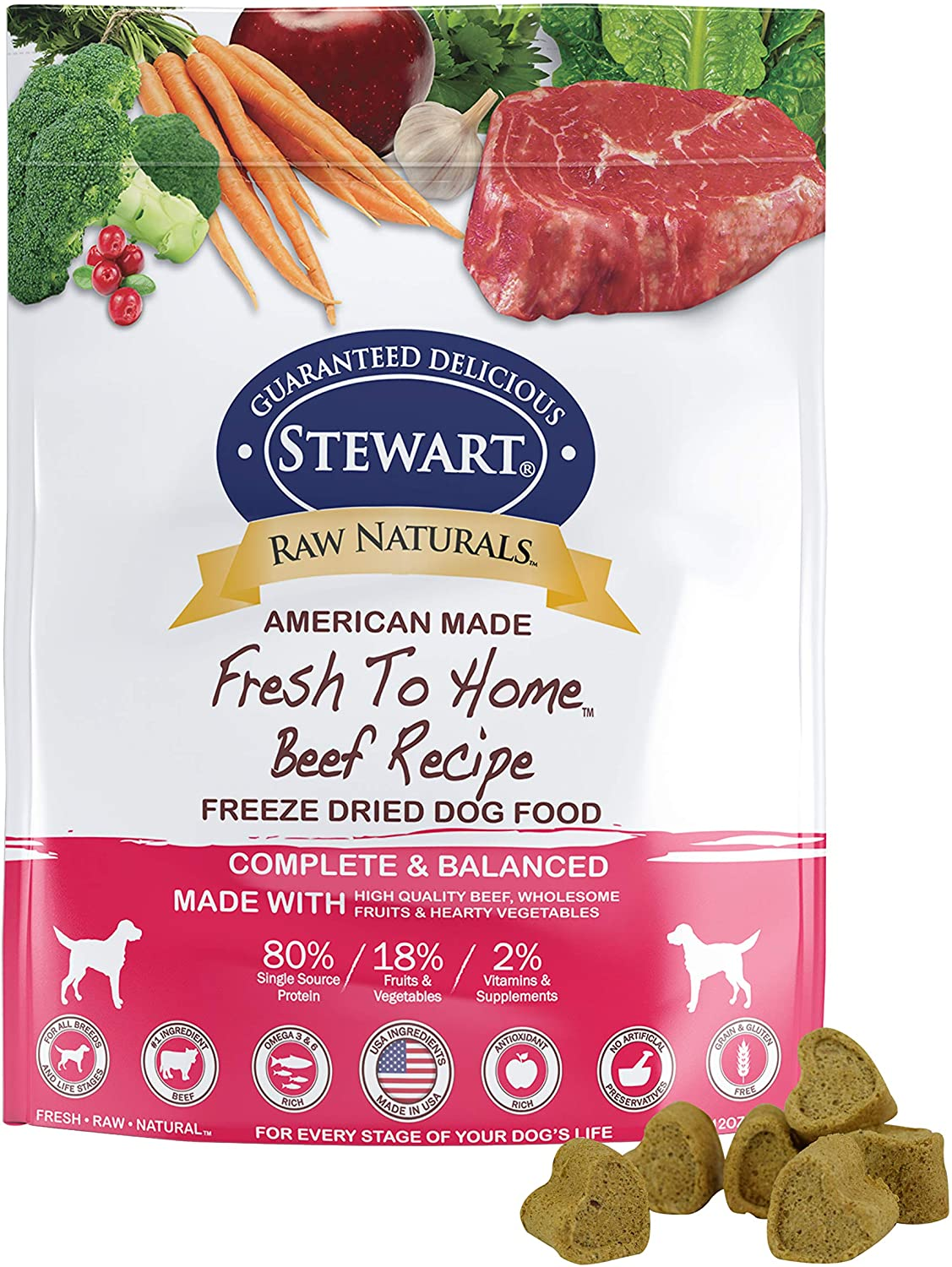 Stewart Raw Naturals Freeze Dried Dog Food Grain Free Made In Usa With Beef Fruits Vegetables For Fresh To Home All Natural Recipe 12 Oz Pet Supplies