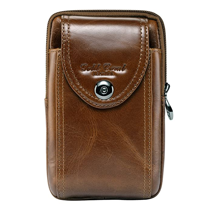sale retailer 781bf 54e07 Sunmig Men Genuine Leather Cell Phone Belt Loop Holster Case Belt Waist Bag  Pouch Purse Wallet