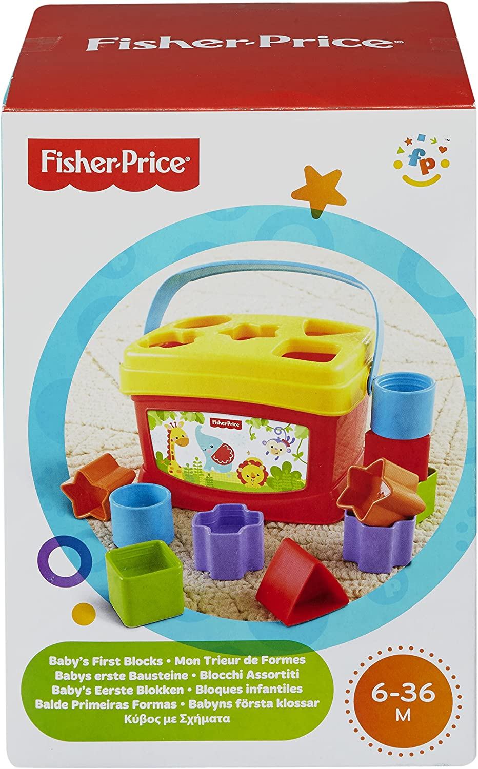 Fisher-Price First Blocks Brilliant Basics Baby/'s Learning Fun Bucket Toy