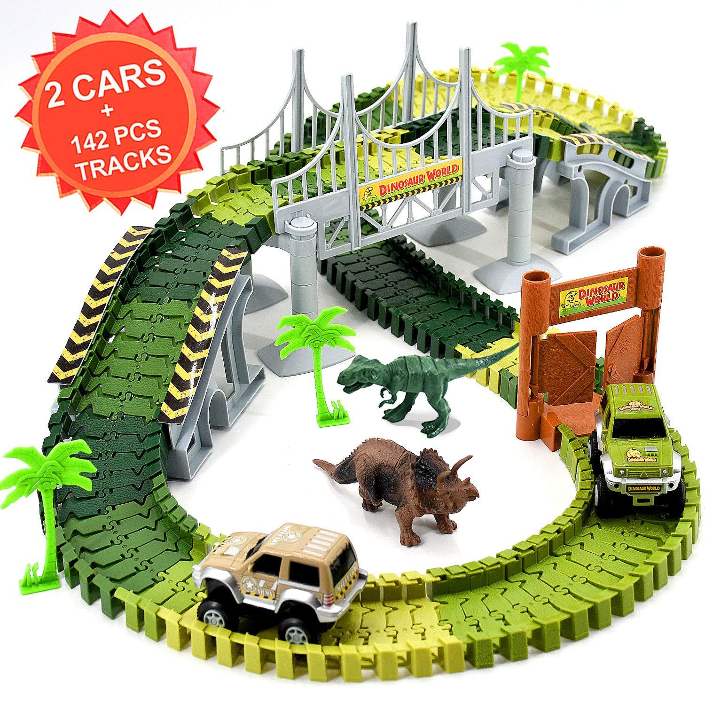 Newlia Race Track Dinosaur Create A Road 2 Toy Cars 2 Dinosaurs 142 Piece Jurassic World Flexible Track Train Playset