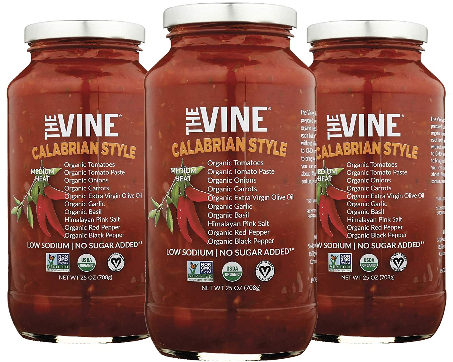 The Vine Calabrian Spicy Marinara, Low Carb, Low Sodium, 3-pack, Non GMO, Kosher